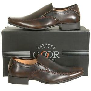 Mens-Brown-Slip-On-Formal-Shoes-Leather-Lined-Size-6-7-8-9-10-11-12