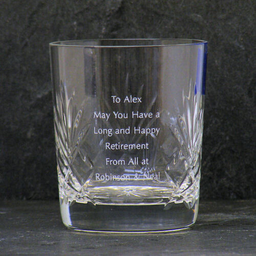 Personalised 24/% Lead Cut Crystal Whisky Glass Retirement Gift Box Engraved
