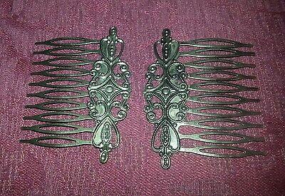 Vintage Antique Style Bronze Tones Hair combs Clips 2 pcs