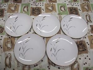 5-Amway-5748-Porcelain-Fine-China-6-1-2-034-Bread-amp-Butter-Snack-Plates-Gold-Leaf