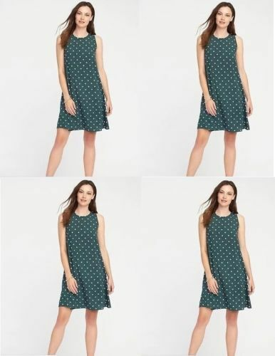a1bebba1cb50 Old Navy Woven Swing Dress Sleeveless Green Polka Dot Size XL With Tags for  sale online | eBay