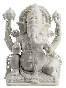 Ganesh Ganesha Lord of Prosperity & Fortune Sculpture White
