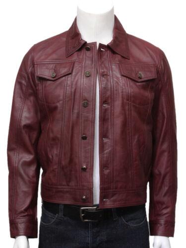 Brandslock Mens Genuine Leather Biker Jacket Burgundy Retro