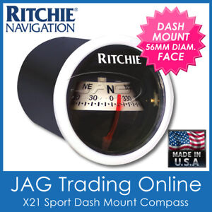 RITCHIE SPORT WHITE X21 DASH MOUNT COMPASS - Marine Boat 4x4 Instrument Panel
