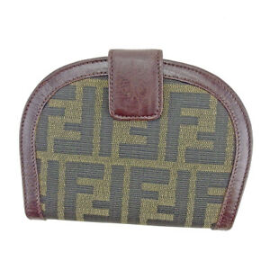 f26123d4 Details about Fendi Wallet Purse Bifold Zucca Green Black Woman unisex  Authentic Used T4314