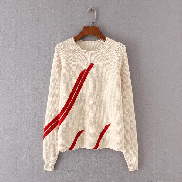 Maglia Maglia Maglia maglione donna maniche lunghe morbida bianco rosso amplia girocollo 4633 7d7388