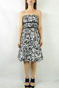 PORTMANS-Black-White-Print-Strapless-Dress-Size-10