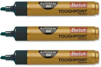 Berol Toughpoint Heavy Duty Blue Permanent Marker Pens for Wood Metal Glass PVC