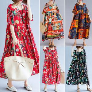 Women-Batwing-Long-Shirt-Dress-Floral-Print-Flower-Midi-Dress-T-Shirt-Dress-Plus
