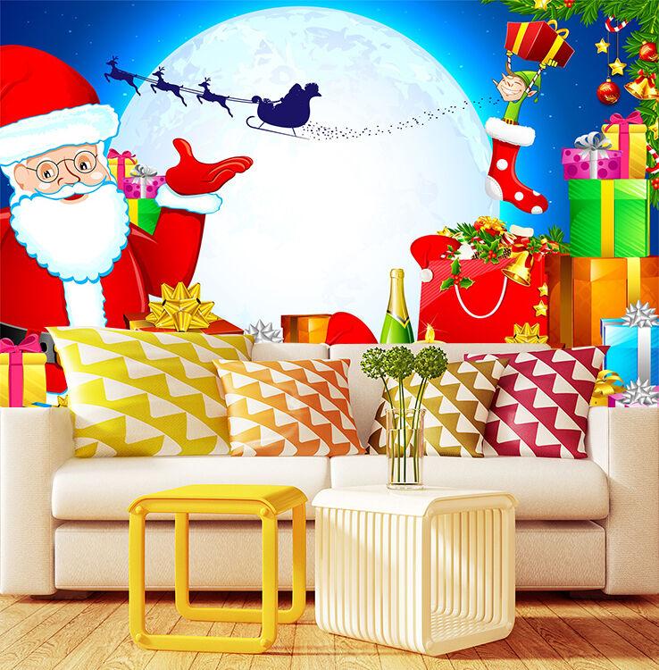 3D Weihnachten Überraschung 4 Fototapeten Wandbild Bild Tapete Familie Kinder