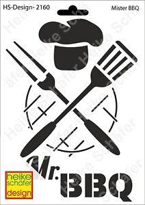 Schablone-Stencil-A5-011-2160-Mister-BBQ-Neu-Heike-Schaefer-Design