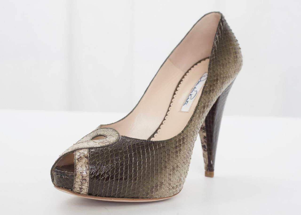 OSCAR DE LA RENTA   995 donna verde Snakeskin Peep -Toe High Heel Pump 7.5 -37.5  scelte con prezzo basso
