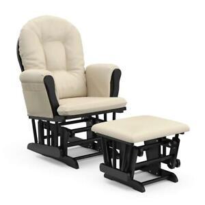 Glider Ottoman Set Rocking Chair Black