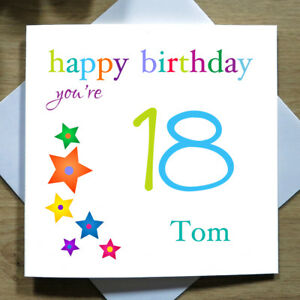 Image Is Loading Personalised Handmade Stars 18th Birthday Card For Him