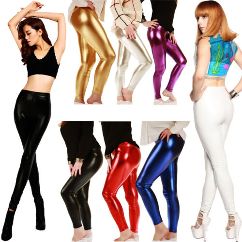 Neuf Femme Filles américaines Disco Dance Pvc Wet look Stretch Foil Leggings UK 80 S