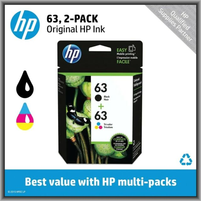 HP 63 Black & 63 Tri-Color, Standard Ink Cartridges, Retail Box, EXP 2020 !