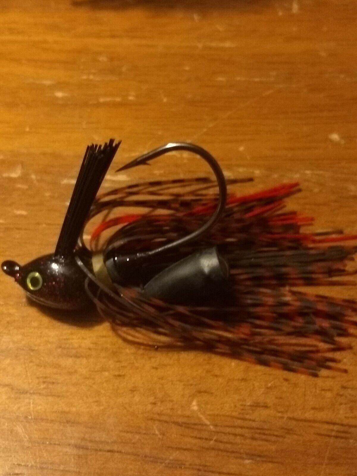 Stanley BLACK /& GREEN BloodSpot Rattler Flat Eye Glitter Head Fishing Jig