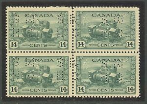"""Canada #O259, 1943 14c Ram Tank - War Issue """"OHMS"""" Perfin Official, B4 Unused NH"""