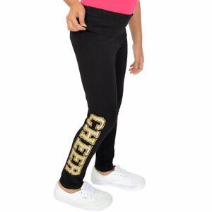 f5455d2a4676e Details about Teamwear Girl's Women's Plus Size Gold Glitter Cheer Spirit  Foldover Leggings