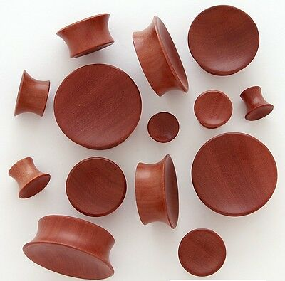 "1 Pair 1//2/"" 12mm Red Saba Organic Solid Exotic Wood Saddle Plugs Ear Gauges 266"