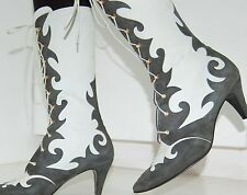 vintage Escada Victorian Scroll Boots leather mid-calf suede gray calfskin 9