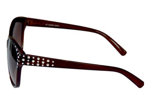 Stylische Damenbrille Sonnenbrille Pornobrille Braun mit Strass-Steinen M 37