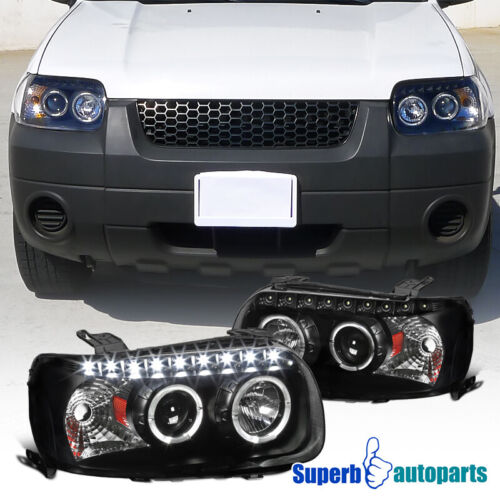 For 2005-2007 Ford Escape Dual Halo Projector SMD LED DRL Headlights Lamps Black