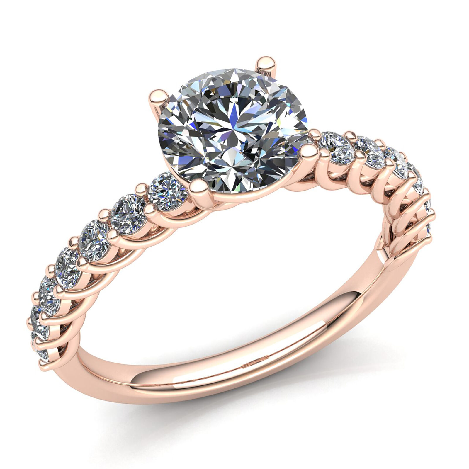 0.5ct Round Cut Diamond Ladies Accented Solitaire Engagement Ring 18K gold
