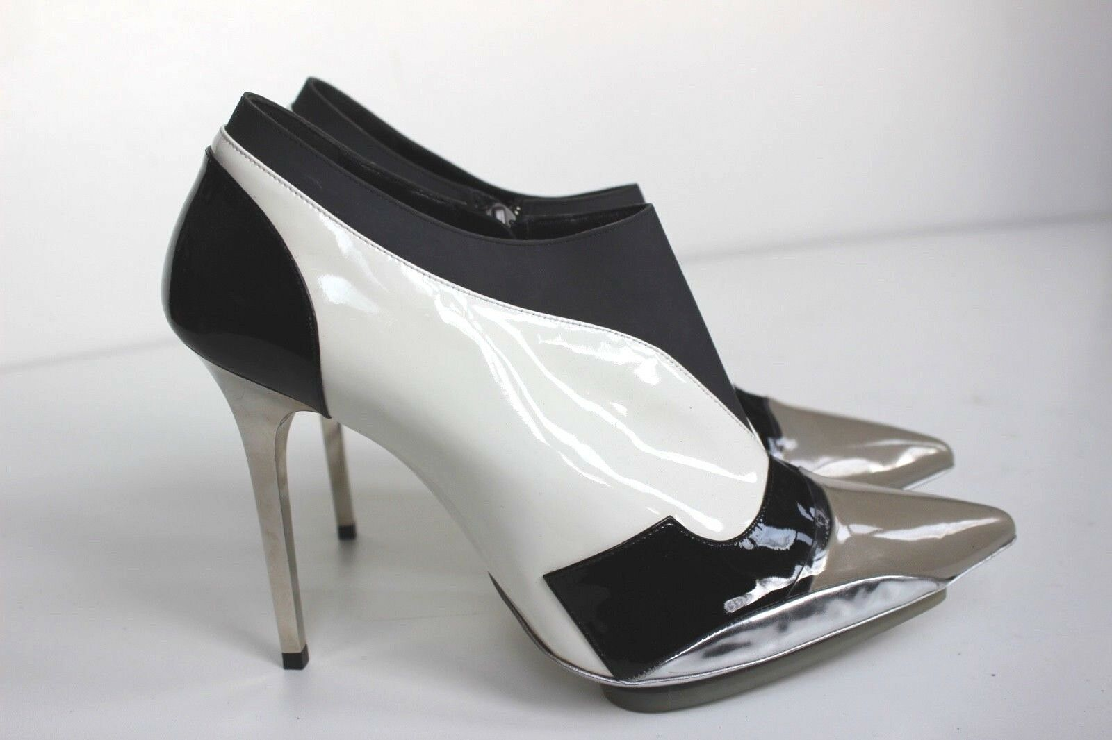 BALENCIAGA FW2008 Nicolas Ghesquière Silber grau Pointy Ankle Stiefel 40 uk 7
