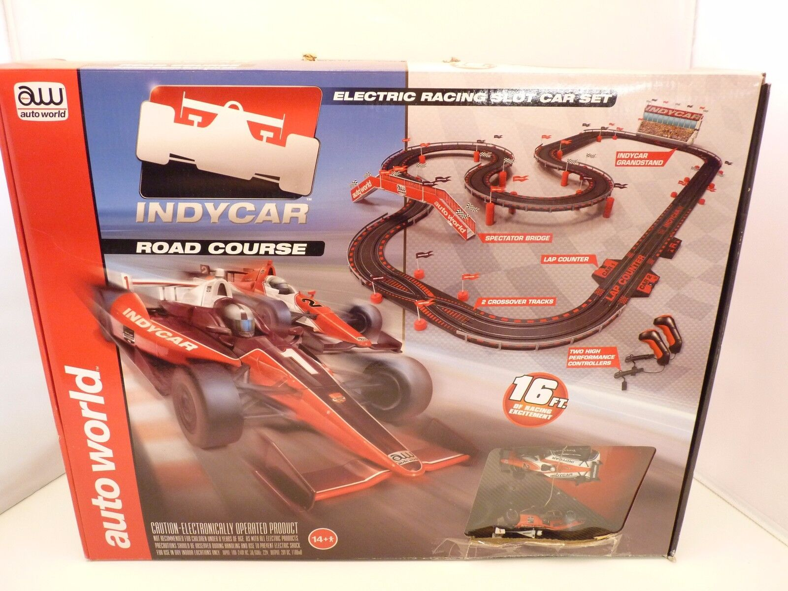 AW AUTO WORLD SRS296 16' INDY ROAD COURSE SLOT CAR RACE SET 1 EA SRS296