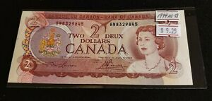 Canada-1974-2-Dollar-Almost-Uncirculated-Nice-AU-58-High-Grade-Banknotes