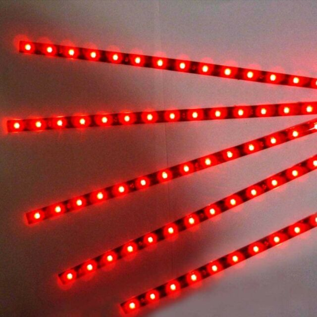 5pcs 30cm 15LED Strip Light Flexible Waterproof  Red For Car Motor Vehicle12V