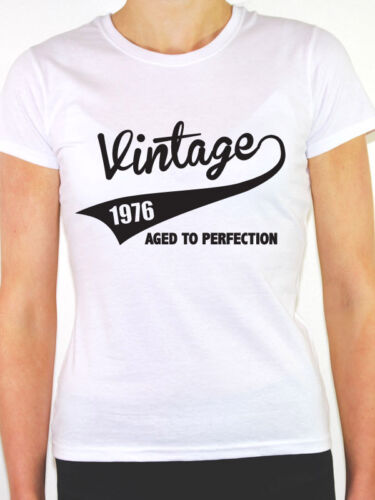 Birth Year//Birthday Gift Themed Women/'s T-Shirt VINTAGE 1976 AGED TO PERFECTION
