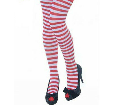 LADIES RED AND WHITE STRIPED ELF CHRISTMAS XMAS TIGHTS FANCY DRESS COSTUME