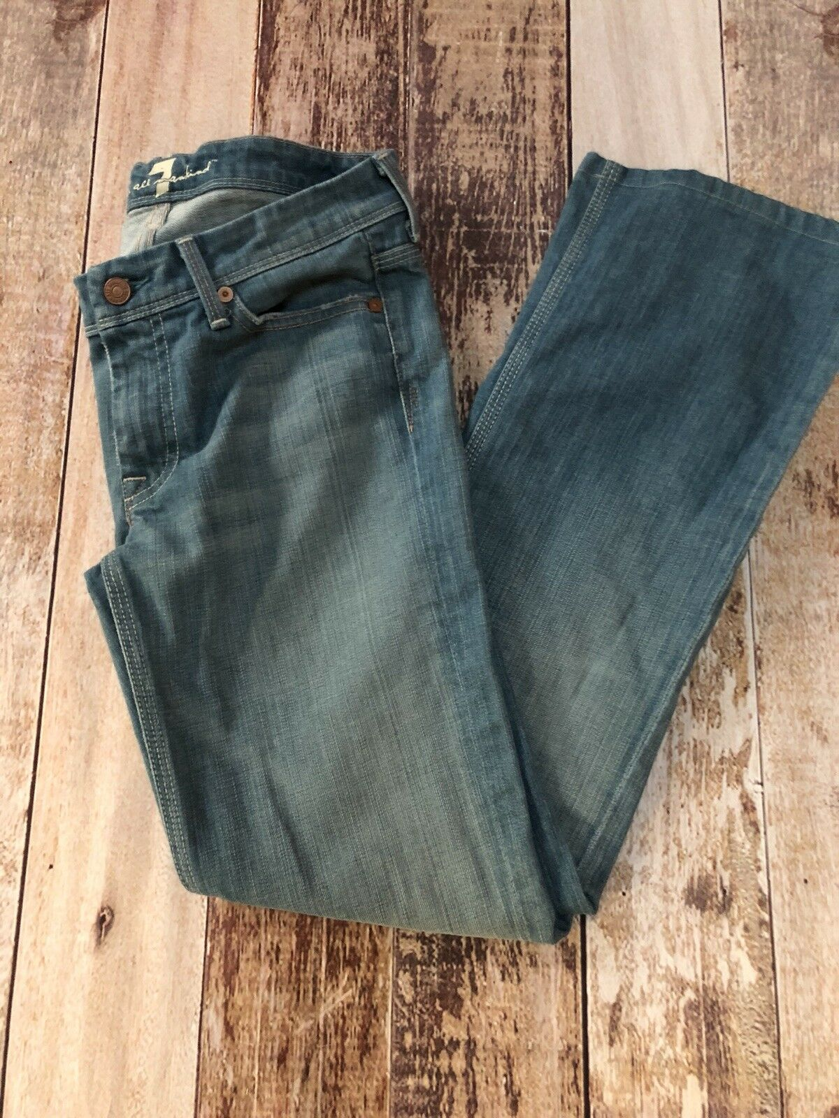 7FAM 7 For All Mankind Flynt Light Wash Pink Stitch Jeans 27