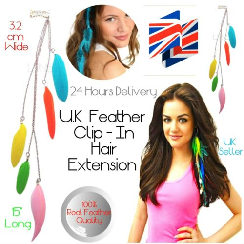 "U.K 15/"" Long Feather Clip In Hair Extension3.2 cm Wide24 Hours Delivery"