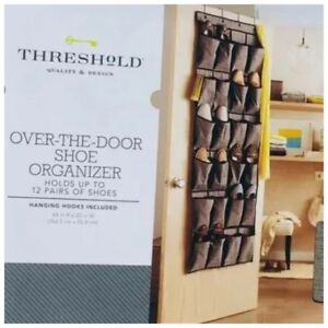 Theshold Target 24 Pocket Over The Door Shoe Organizer 12 Pairs New