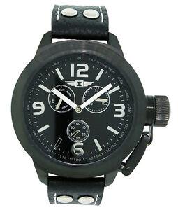 I-by-Invicta-IBI70113-003-Men-039-s-Round-Analog-Black-Day-Date-Black-Leather-Watch