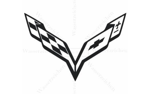 10cm!StickerAUFKLEBER-STICKER-Waschanlagenfest Corvette Schwarz Logo Auto AD105
