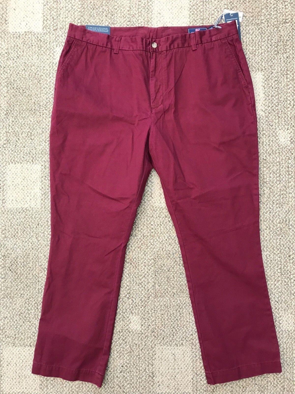 Vineyard Vines Mens Slim Breaker Casual Pants Crimson Burgundy Red Size 40 X 32