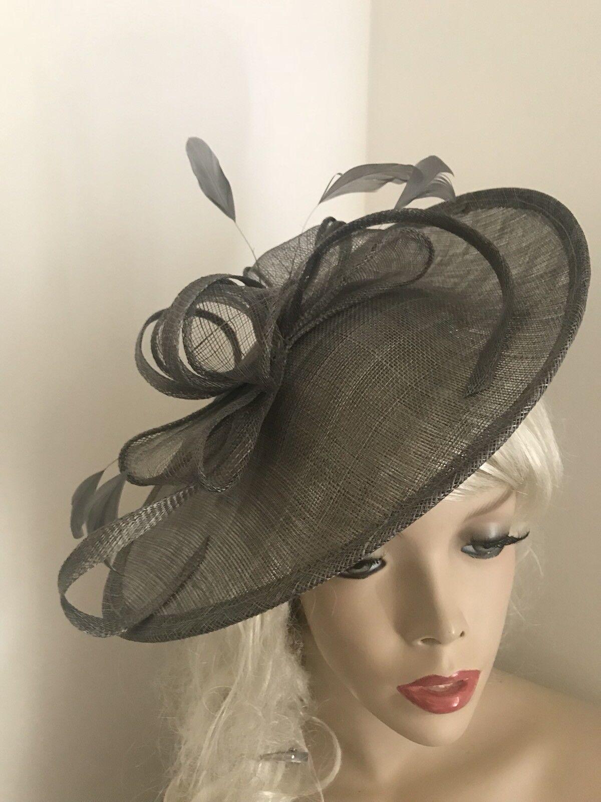 NEW Pewter Grey Fascinator Saucer Wedding Hat Hatinator Races Disc Oval