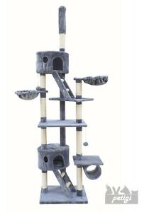 petigi Arbre a Chat gris clair Peluche Sisal 240-260 cm Hauteur Plafond