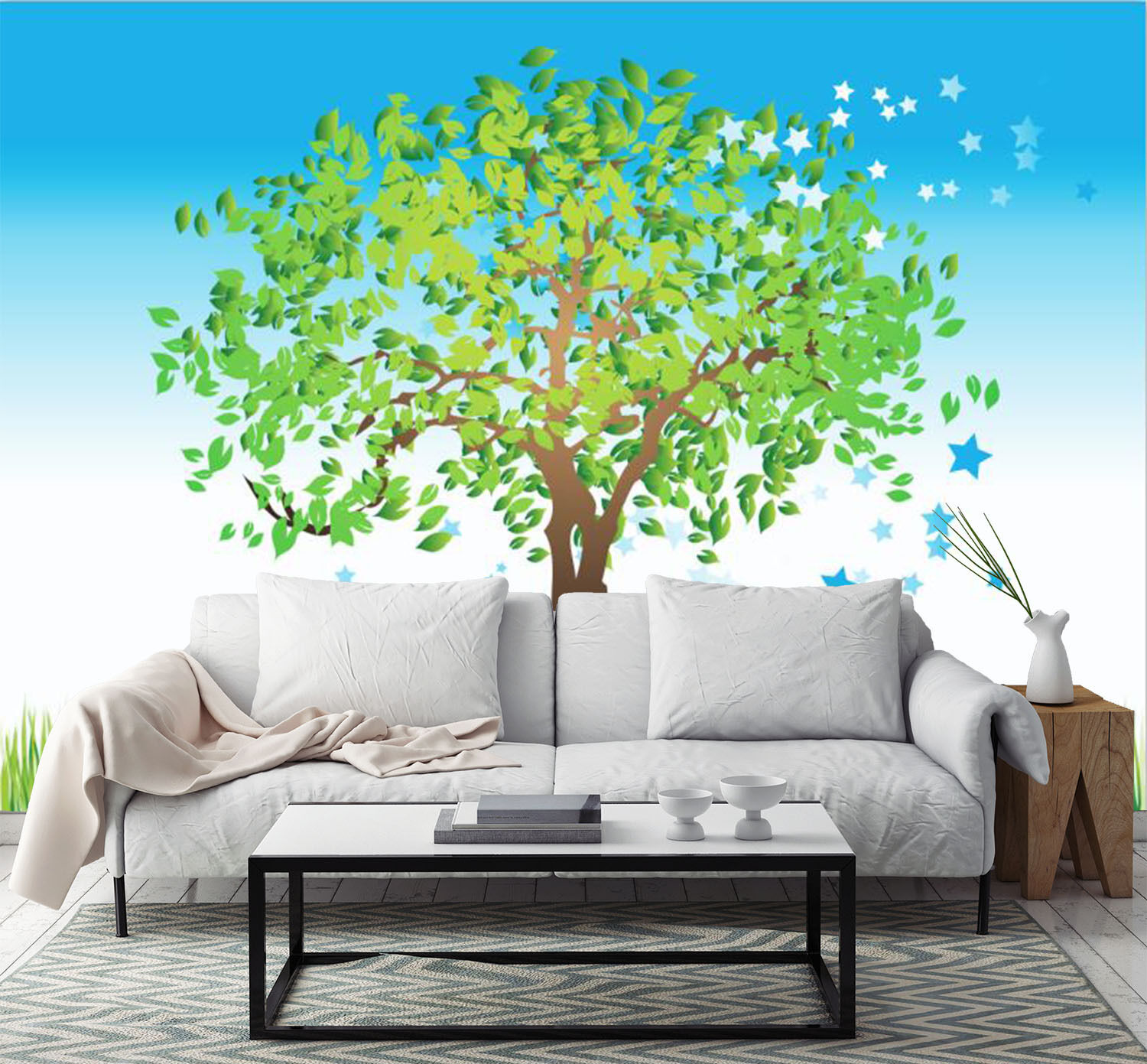 3D Green Tree bluee Stars 1 Wall Paper Print Decal Wall Deco Indoor wall Mural