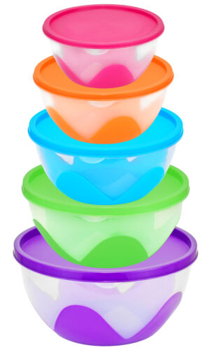 Food Storage Bowls W Lids Kitchen Organization Stacking Nesting Containers 5 Set