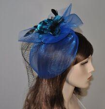 Cabello Fascinator clip con muelles red satén flor pelo boda joyas Royal azul