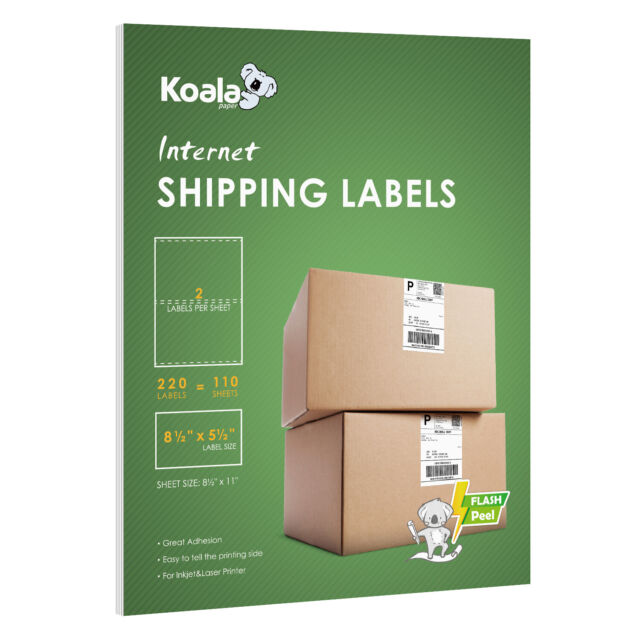 200 + 20 Extra Value Half Sheet Mailing Shipping Labels 8.5x5.5 Self Adhesive