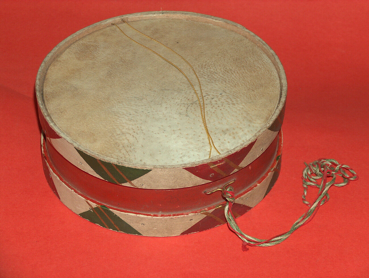VINTAGE TOY - LEATHER AND WOOD DRUM, BULGARIA, 1960-70