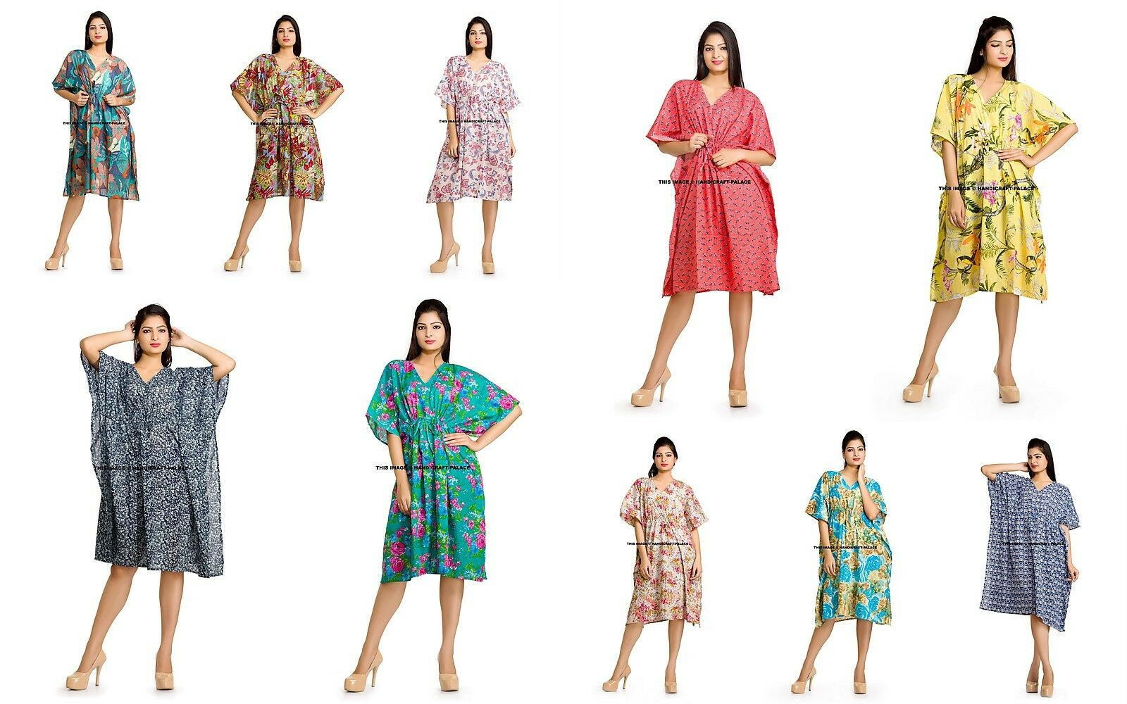 10 Wholesale Lot Short Cotton Caftan Kaftan Night Beach Wear Maxi Dress Bohemian