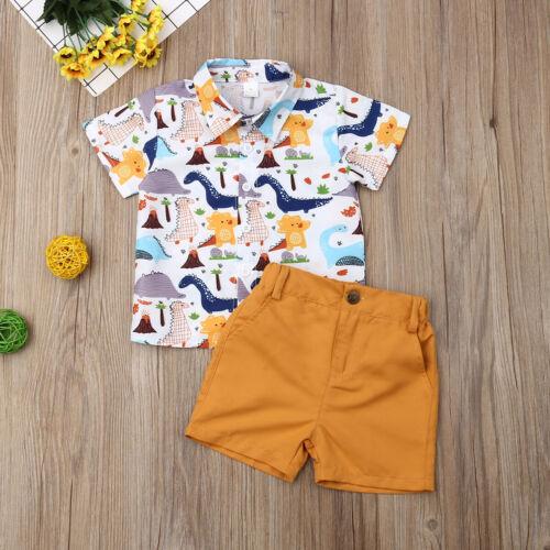 NWT Dinosaur Boys Short Sleeve Button Shirt /& Shorts Outfit Set 2T 3T 4T 5T