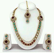 Designer Antique Gold Plated Diamond&kundan Necklace Earring Tika Jewellery Set